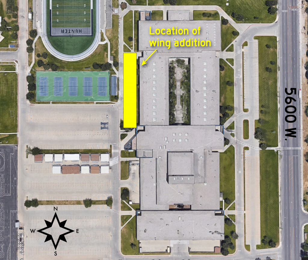 Map of Hunter High showing location of new wing addition